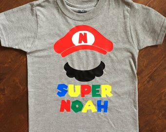 Personalized Super Mario brothers tshirt