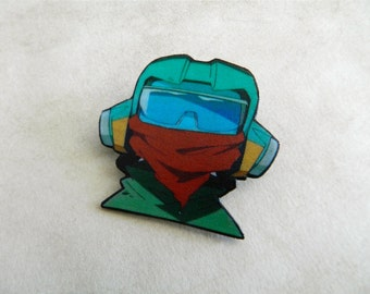 FLCL Fooly Cooly Helmet Head Brooch Pin Button Japanese Aname Anime Naota Nandaba Cowboy Bebop