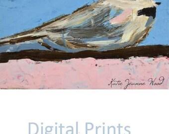 Chickadee Bird Painting Print. Pink & Blue Bird Art Print. Cottage Chic Shabby Bird Decor. Apartment Wall Decor. No 143