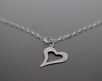 Silver Heart Necklace - Solid Sterling 925 Hammered Open Heart Cut Out Pendant Charm