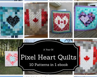 Heart Quilt Patterns, Quilt ebook, Pixel Heart Quilt Patterns, Beginner Friendly Patterns, A Year of Pixel Heart Quilts ebook, ten patterns