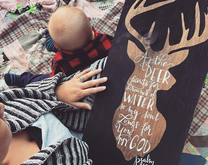 Hand Painted Wooden Sign with Deer Psalm 42:1