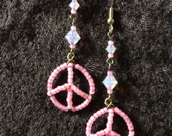 Peace sign, pink, swarovskis