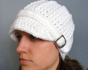 Womens Hat Womens White Hat Womens Beanie Womens White Beanie Womens Cap Womens White Cap Crochet Winter Hat Trendy Silver Buckle Beanie