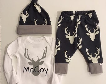 NEW! Oh Deer w/grey Accents/Midnight Blue/Newborn Outfit/Bring Home Outfit