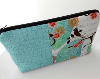 Cosmetic Bag Large Flat Bottom Zipper Pouch Padded  in Double Blush Bird Aqua OOAK