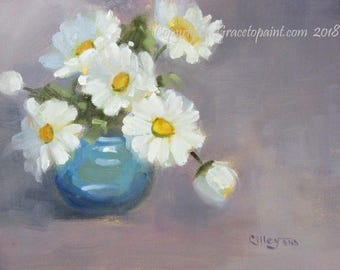 Daisies in Blue Glass...Original Oil Painting by Maresa Lilley, SND