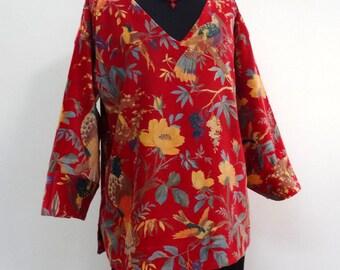 NEW - pullover V neck tunic birds of paradise print red cotton Velvet