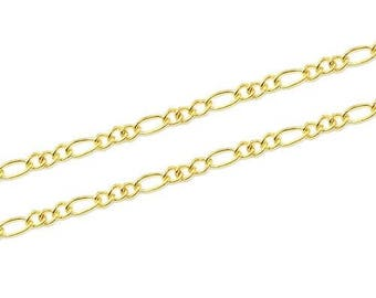 Link 2x5mm - gold plated figaro chain (1 m)