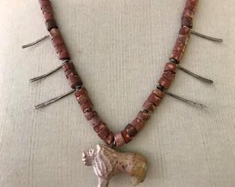 african, gem, handmade lion beaded  vintage necklace