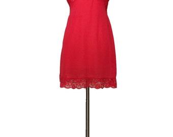 Vintage 1960s Red/Orange Lace Slip Dress Mad Men Sexy Secretary Pin Up Bombshell Lingerie Full Slip