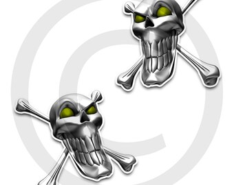 Skull and Crossbones! Evil Alien Skulls with glowing eyes.. angled view.   choose your color!