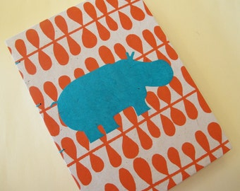 Hippo Handmade Book: Orange and Turquoise Hippopotamus Journal Notebook Coptic Hardbound