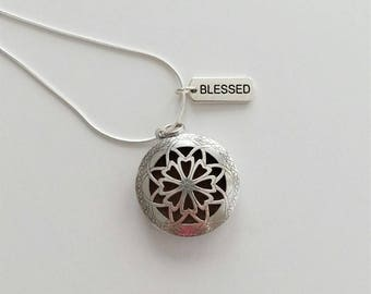 Filigree-Blessed Diffuser Necklace, aromatherapy pendant, silver color, Blessed charm, 24-inch chain, essential oil diffuser jewelry