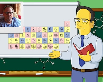 Science Teacher Gift - Custom Portrait as Yellow Cartoon Character / Chemist Gift Idea / Chemistry Teacher Retirement Gift / Chemist Cartoon