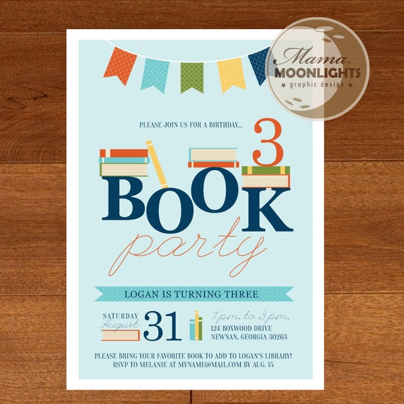 Book Birthday Party Invitation Digital Printable 5x7 Invite