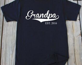 Grandpa shirt Grandfather gift Grandpa EST. 2016 T-Shirt Gift For Grandpa New Grandpa Est 2016 Customized Shirt Fathers day grandpa shirt