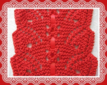 Knitted Lace Scarf Knitting Pattern PDF Flowing Leaves design easy to knit