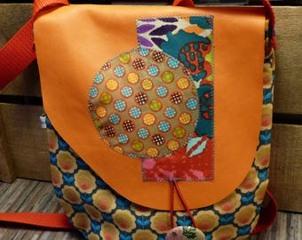 Bag retro flower fabric and leather flap S385 orange