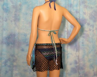 Beach Skirt, String Bikini with Matching Beach Cover, 3 piece Knit Bikini set, Hand Crocheted Swimsuit Cover, Sunbathing Bikini with Wrap
