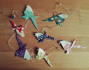 Garland multicolor origami birds