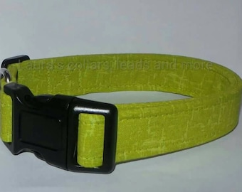 25mm Handmade lime green fabric dog collar , dog collar , adjustable , small , medium , large , lime green ,