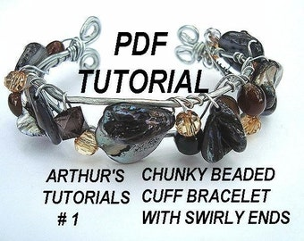 Jewelry Tutorial, bracelet, ,  Arthurs num 1.. CHUNKY BEADED CUFF bracelet with swirly ends ok to sell them, see more in my shop