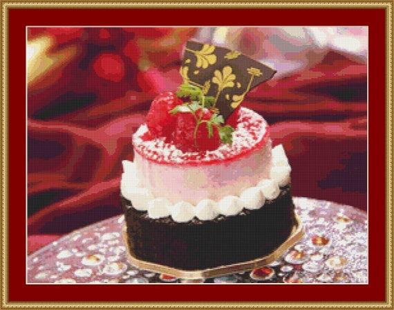 Raspberry Cake Cross Stitch Pattern /Digital PDF Files /Instant downloadable