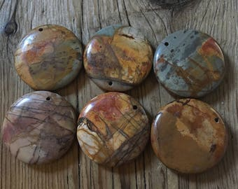 Red Creek Jasper - Pillowed Round - Red and Greens - Assorted Shades - 35mm - Front Drilled -  01 Beads per Order