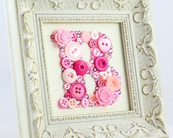 Monogram Letter - Custom Framed Button Letter Art - Nursery Decor, Baby Room Decor, Alphabet Letter Art, Button Artwork, New Baby Gift