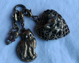 Vintage Cat and Mouse Locket and Charms Set of Three