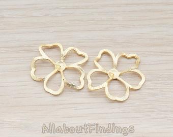 PDT489-MG // Matte Gold Plated Morning Glory Flower Pendant, 2 Pc