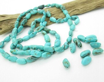 Blue Kingman Turquoise Long Oval Nugget Beads, Arizona Natural Turquoise, (10)