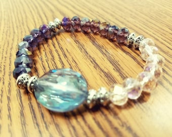 Multifaceted Pink, Purple, Indigo, and Blue Ombre Gradient Boho Beaded Stretch Bracelet, Ombre Stretch Bracelet, Pink and Purple Bracelet
