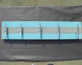5 Dock Cleat Towel/Clothes Rack for Nautical Bathroom,  Nursery or Pool