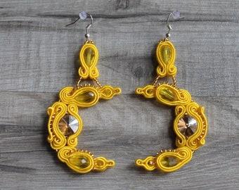 Yellow Dangle Earrings, Long Earrings, Soutache Earrings, ss2018, Long Earrings, Dangle Earrings