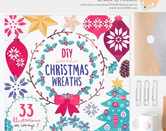 3 FOR 2. Watercolor Christmas Wreath Clipart. Xmas Clipart. Holly, Bauble, Wreath, Treat. Snowflake. Tree, Ornaments. Planner Stickers.