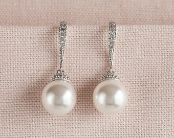 Perle Braut Ohrringe, klassische Hochzeitsohrringe, Rose Gold Brautjungfer Ohrringe, Swarovski Perle Tropfen Ohrringe