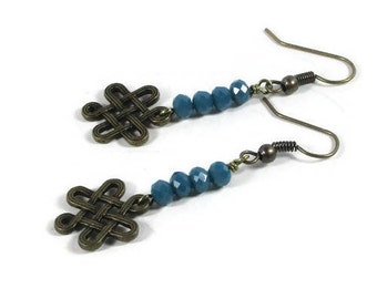 Vintage Brass Infinity Knot with Blue Teal Czech Glass