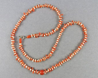 Antique Carved Coral Necklace Natural Coral Jewelry Mediterranean Coral Beads Vintage Jewellery White Coral Orange Red Coral