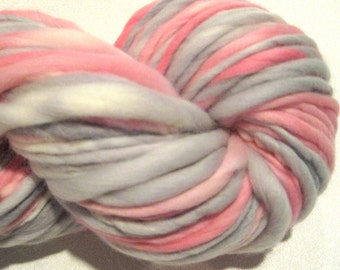Super Bulky Handspun Yarn Henrietta Hippo 102 yards pink grey hand dyed merino wool knitting supplies