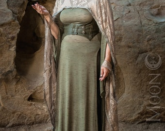"""Specialty: The """"Fairy Queen"""" Hooded Lace Cape in Metallic Gold with Silver Trim by Opal Moon Designs (One Size)"""