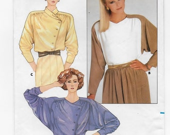 A Straight Hemline, Long sleeve, Asymmetrical Close Blouse with Collar Variation Sewing Pattern for Women: Uncut - Size 10 • Butterick 3591