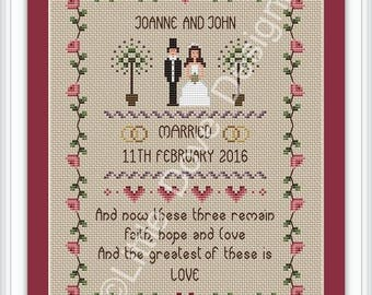 Faith Hope and Love Wedding Cross Stitch Sampler PDF Chart INSTANT DOWNLOAD