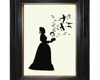 Silhouette Lady Art Print with Book Flock of Birds Victorian Steampunk Art Print Raven Crows