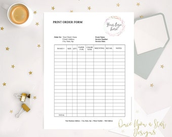 EDITABLE Print Order Form, Picture Order Form, Photography Order Form, Photography Forms, Photographer Resources, Photography Business Forms