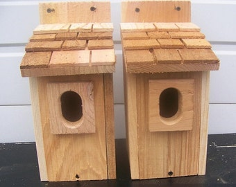 2 bluebird houses nest with cedar shake roof and peterson oval entrance handmade by Cedarnest
