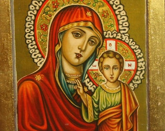 Orthodox Hand Painted Icon Virgin Mary And Christ Child