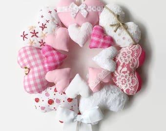 Hanging Heart Wreath / Stuffed Heart Wreath / Fabric Heart Wreath / Shabby Chic Hearts / Heart Mandala / Heart Wall Hanging