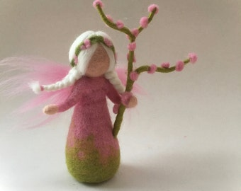 Almond blossom fairy.felted. Wet  felted. Waldorf.Flower child.
